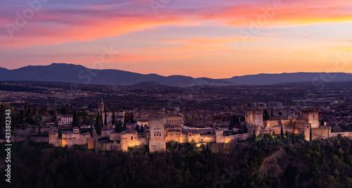Fotografia, Obraz Alhambra au coucher de soleil