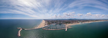 Panoramic View Of Rimini, Its Sea, Its Beaches And Its Port On The Romagna Riviera In Post-pandemic Italy