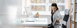Leinwandbild Motiv Bad Posture Sitting In Office With Backache