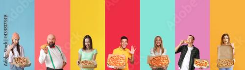 Obraz na płótnie Group of people with tasty pizza on color background