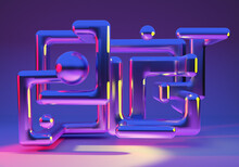 Abstract Background From Neon Lines. Abstract Purple Design. Texture With 3D Labyrinth. Lines Creating A Maze In Neon Light. Background Pattern With Three-dimensional Abstract Art.