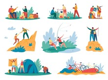People Camping. Tourists Or Hikers With Backpacks Climbing Mountains, Sitting Near Bonfire, Cooking Food. Summer Hiking Adventure Activity Vector Set. Characters Setting Up Tent, Fishing