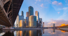 Skyscrapers In Moscow Is Capital Of Russia. Skyscrapers On  Banks Of Moskva River. Business Center Of Capital Of Russia. Moscow City Area On A Summer Day. Russia On Background Of Blue Sky.