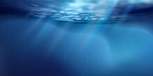 Sea Or Ocean Surface Seen From Underwater, Background. Surface Seen From Under Water. Rays Of Light, Abstract Marine Backdrop. Nature Landscape, Beams Blurred. Vector Illustration.