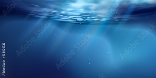 Stampa su Tela Sea or ocean surface seen from underwater, background