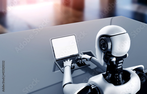 Robot humanoid use laptop and sit at table in future office while using AI thinking brain , artificial intelligence and machine learning process . 4th fourth industrial revolution 3D illustration. - fototapety na wymiar