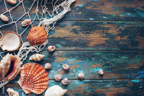Wallpaper Mural Various sea shells and fishing net on blue wooden background