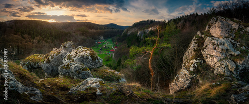 Panoramic view from the limestone peak to Pradnik Valley at the sunset. Ojcowski National Park #433831987