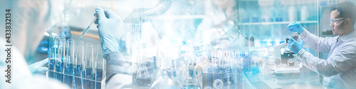 Foto Banner panorama background, health care researchers working in science laborator