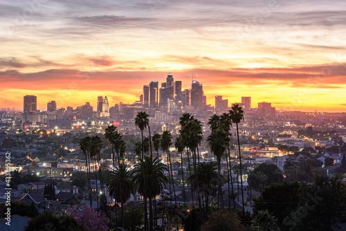 Valokuvatapetti Los Angeles downtown skyline at sunset