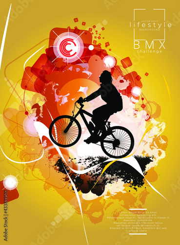Active woman. BMX rider in abstract sport background, vector. - fototapety na wymiar