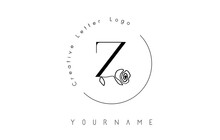 Creative Initial Letter Z Logo With Lettering Circle And Hand Drawn Rose. Floral Element And Elegant Letter Z. Vector Illustration For Natural, Eco, Jewelry, Fashion, Personal Or Corporate Branding.