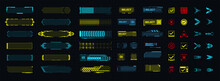 A Template Of Futuristic Elements For The Game, Button, Arrow, Loading. Modern Game Design Icons.  Digital Technology UI/UX Futuristic HUD, FUI, GUI. Screen User Interface, Control Panel For Game Apps