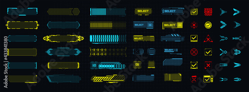 A template of futuristic elements for the game, button, arrow, loading. Modern game design icons.  Digital technology UI/UX Futuristic HUD, FUI, GUI. Screen user interface, control panel for game apps - fototapety na wymiar