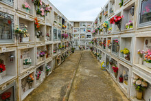 Cacela Velha, Algarve / Portugal - May 9 2019: Cemetary With Above The Ground Graves