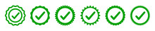 Approval Check Icon Isolated, Set Quality Sign, Green Tick, Verification – Stock Vector