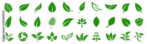 Fotografie, Obraz Leaf icons set ecology nature element, green leafs, environment and nature eco sign