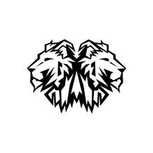 Lion Head Logo Design Vector, Silhouette Of Lion,head Two Lion  Vector Illustration