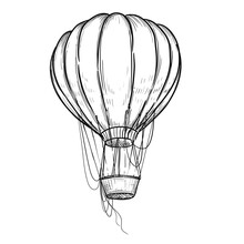 Hand Drawn Sketch Black And White Vintage Hot Air Balloon. Vector Illustration. Elements In Graphic Style Label, Card, Sticker, Menu, Package. Engraved Style.