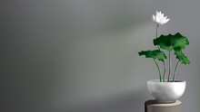 Lotus Vase Decoration In The Room Isolated.  Silver Pot With Lotus Plants.  Indoor Zen Plant.