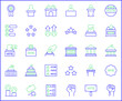Set of vote and politics Icon line style. Contains such Icons as democracy, government, tribune, president, protest, voting, polls And Other Elements. customize color, easy resize.