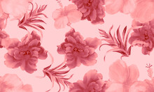 Coral Hibiscus Plant. Pink Flower Garden. Fuchsia Seamless Leaf. Blur Watercolor Wallpaper. Pattern Leaf. Tropical Backdrop. Exotic Backdrop. Art Plant.