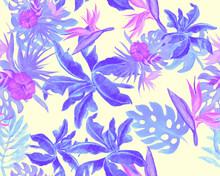 Azure Monstera Background. Purple Watercolor Foliage. Indigo Banana Leaf Backdrop. Pink Seamless Set. Blue Pattern Leaves. Tropical Jungle. Vintage Garden.