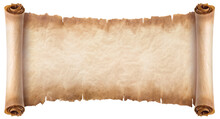 Old Parchment Paper Scroll Sheet Vintage Aged Or Texture Isolated On White Background