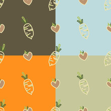 Cute Chinese Radish And Mini Brown Hearts Seamless Pattern With Brown, Orange, Green And Blue Background