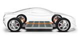 Fototapeta Sport - Elektroauto, Elektrofahrzeug mit Akkuantrieb, transparent dargestellter PKW, 3D Rendering