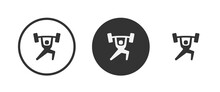 Weight Lifting Icon Set. Collection Of High Quality Black Outline Logo For Web Site Design And Mobile Dark Mode Apps. Vector Illustration On A White Background