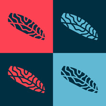 Pop Art Fish Steak Icon Isolated On Color Background. Vector