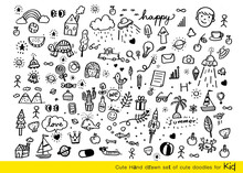 Vector Illustration Of Doodle Cute For Kid, Hand Drawn Set Of Cute Doodles For Decoration,Funny Doodle Hand Drawn, Summer, Doodle Set Of Objects From A Child's Life,Christmas