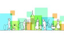 街並みと人々の線画イラスト