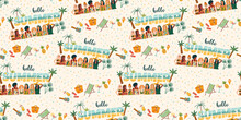 Vector Seamless Pattern With Women In Swimsuit On Tropical Beach. Summer Holliday, Vacation, Travel