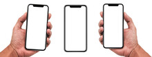 Smartphone Similar To Iphone 12 With Blank White Screen For Infographic Global Business Marketing Plan, Mockup Model Similar To IPhone Isolated Background Of Digital Investment Economy - Clipping Path