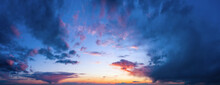 Beautiful Sky Backround With Clouds At Sunset.