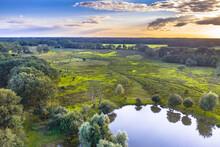 Aerial View Of Wetland Scene In Drenthe