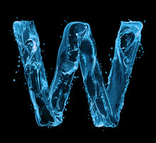 Latin Letter W Made Of Water Splashes On A Black Background