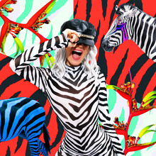 Contemporary Digital Funky Minimal Collage Poster. Party Girl And Zebra. Back In 90s. Pop Art Zine Fashion Culture. Trendy Animal Pattern Design