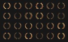Set Of Gold Laurel Wreaths. Laurel Branches Frames Collection. Floral Round Frames Of Leaves. Vintage Decorative Elements For Awards, Medals, Achievement, Emblem, Premium Quality, Ornate And Logo.