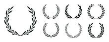Set Of Black Laurel Wreaths. Laurel Branches Frames Collection. Floral Round Frames Of Leaves. Vintage Decorative Elements For Awards, Medals, Achievement, Emblem, Premium Quality, Ornate And Logo.