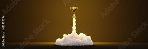 Obraz na płótnie Triumph, success and leadership theme; 3d rendering