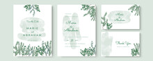 Elegant Watercolor Wedding Invitation Card With Greenery Leaves And Gold Frame Lines