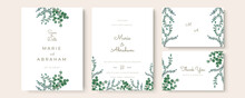 Set Of Wedding Invitation Card With Flower And Leaves. Green Blue Yellow Gold Minimalist Simple Wedding Floral Watercolour.