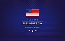 Presidents Day Banner With Presidents Day Lettering, USA Flag, Dark Blue Background, Stars And Stripes - Vector Illustratio