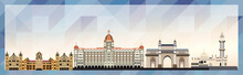Mumbai Skyline Vector Colorful Poster On Beautiful Triangular Texture Background