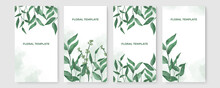 Vector Set Of Social Media Stories Design Templates, Backgrounds With Copy Space For Text - Green Floral Summer Backgrounds For Banner, Greeting Card, Poster And Advertising