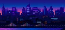 Colorful Neon Lights Cityscape Night Vector Illustration