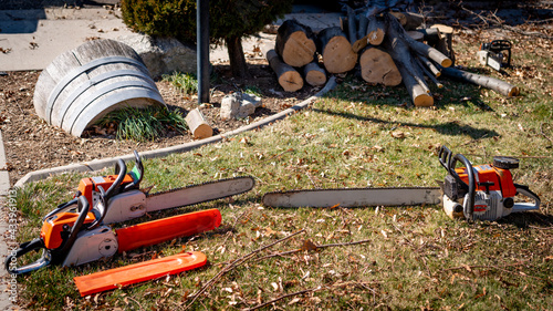 Billede på lærred Assortment of chainsaws on the ground with fresh cut logs